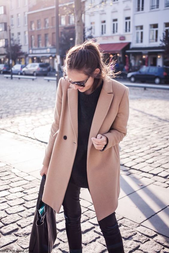 Camel coloured coat (similar to this one). Most stores would have one (Ex: Forever 21). It's a wool type fabric and texture. | Size Large.