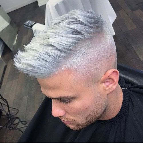 High Skin Fade Textured Spiky Platinum Hair Men Hair Color Platinum Blonde Hair Professional Hair Dye