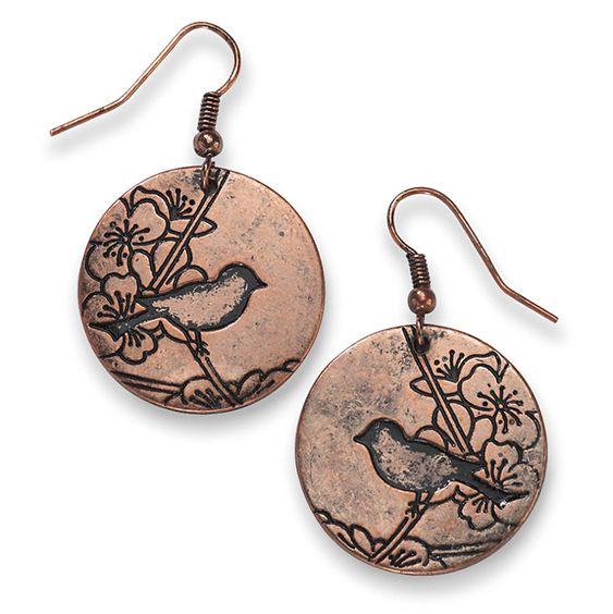 unique copper jewelry / Copper Bird Earrings