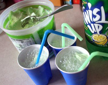 Leprechaun Floats (Green Sherbet & Sprite) - St Patricks Day--we also used this for a star wars party and called it yoda soda