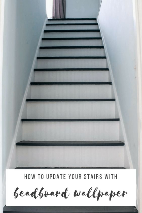 how to update stairs with beadboard wallpaper