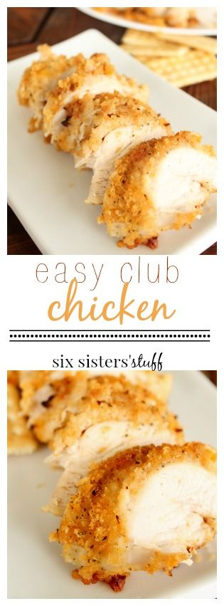 Easy Club Chicken from Six Sisters' Stuff | This is my go to recipe when I am in a hurry, have no ingredients, and need a quick meal. It is just a few easy ingredients, and it tastes amazing! Definitely a must try!