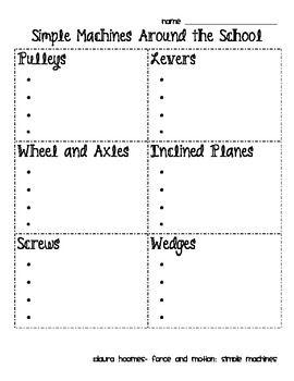 Simple Machines Scavenger Hunt | Worksheet | Education.com