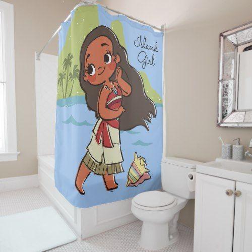 Moana Island Girl Shower Curtain Zazzle Com Girl Shower Island Girl Custom Shower Curtains