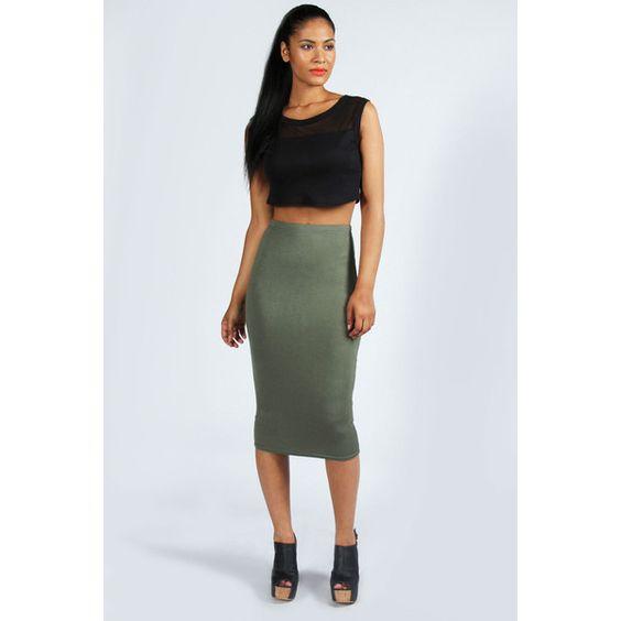 Boohoo Alexis Midi Jersey Tube Skirt ($8) ❤ liked on Polyvore ...