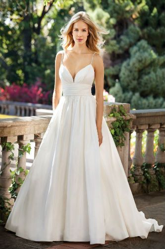 Silk more receptions and wedding on pinterest for Spaghetti strap wedding dress with pockets