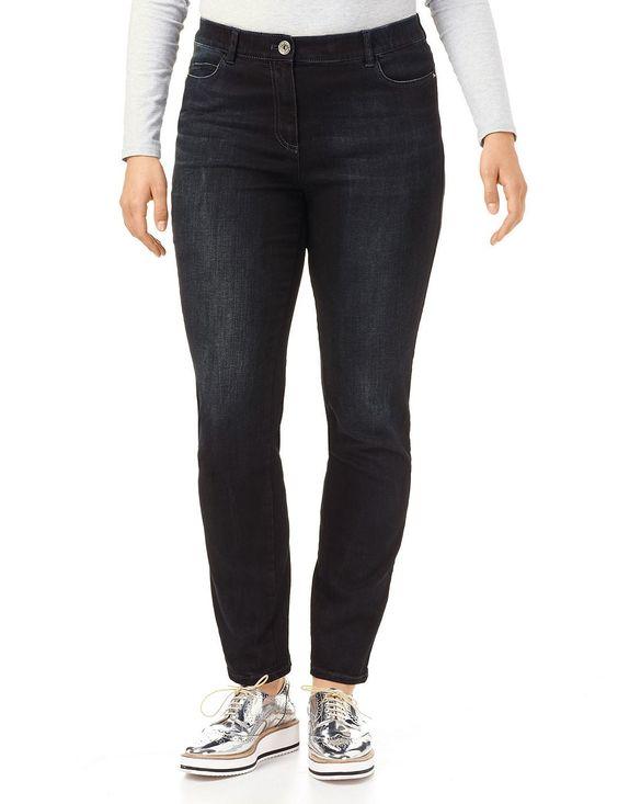 Hose Jeans lang Vielseitige Stretch-Jeans    Der sportive 5-Pocket-Style mit modischen Bleachings macht diese Jeans zu einem vielseitigen Kombitalent. Mit Stretchkomfort. Schrittlänge ca. 78 cm, Fußweite ca. 34 cm in Gr. 42    Material: Blau Denim: Oberstoff: 93% Baumwolle, 5% Polyester, 2% Elastan...