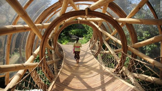 A myriad of innovative bamboo walkways and staircases weave through the village.:
