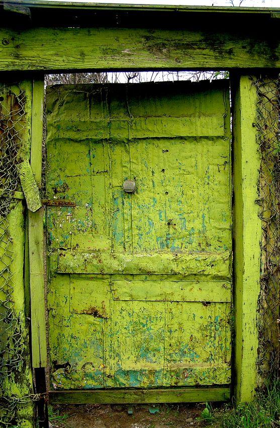 Chippy paint lime green door
