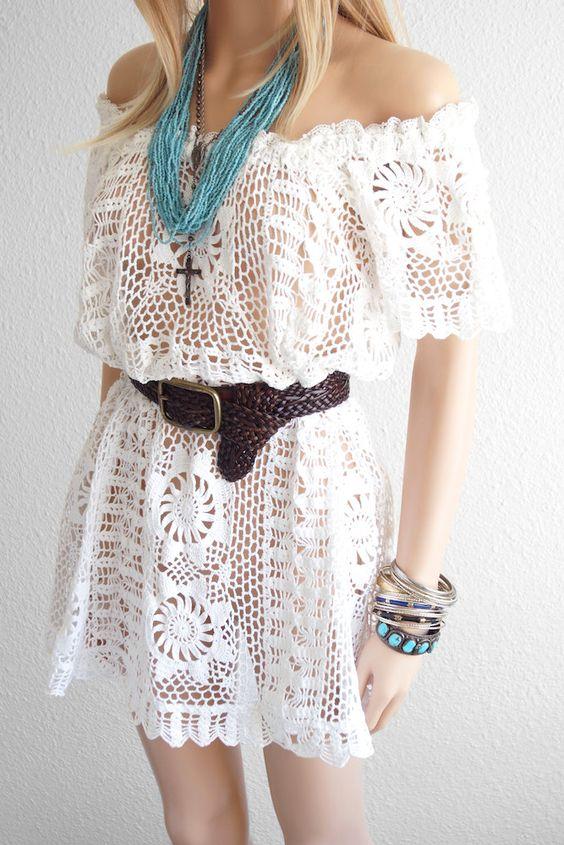 Vestido Branco de Renda Crochê Mulheres. / Dress White Lace Crochet Women.: