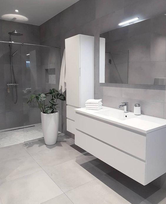 Gray Bathroom Designs Tile Gray Tile Bath Wood Gray White Modernbathroom Badezimmer Design Badezimmer Grau Badezimmer