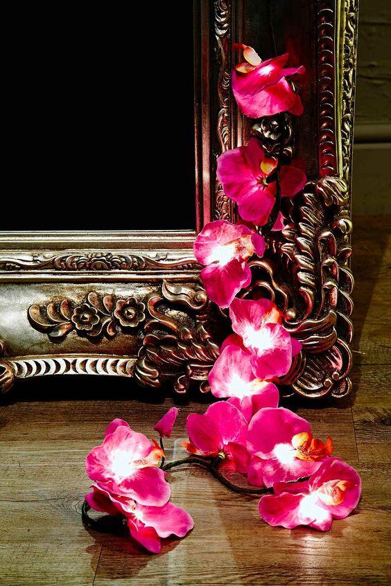 Guirlande électrique motif orchidées prise européenne - Violet