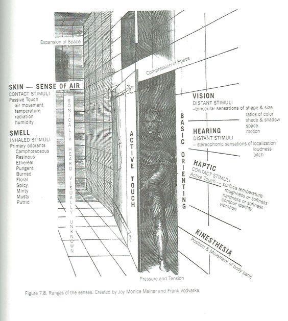 Sensory Design, fig 7.8, ranges of the senses. Created by Joy Monice Malnar and Frank Vodvarka.