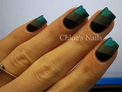 love the color combo....easy scotch tape mani!