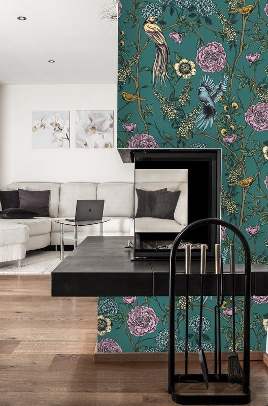 Noriega Removable Vintage Floral Birds 6 25 L X 25 W Peel And Stick Wallpaper Roll Vintage Floral Wallpapers Wallpaper Living Room Wallpapers Vintage