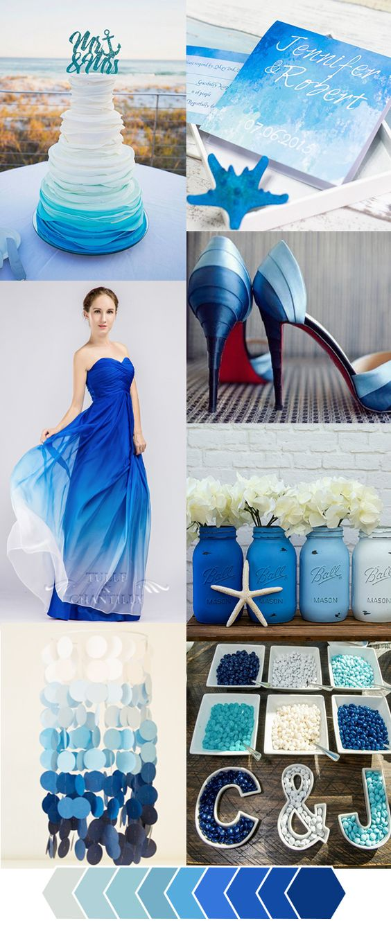 Wedding colors blue wedding colors and ombre on pinterest for Baby blue wedding decoration ideas