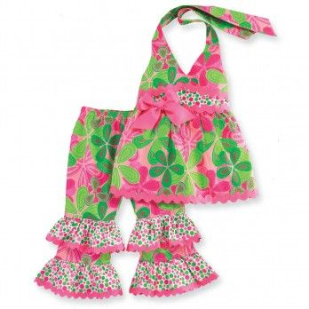 This is one of my fav Mud Pie outfits EVER! Little Sprout Floral Halter Pants Set by Mud Pie