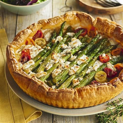 Recetas Con Hojaldre Tarta Esparragos Tomate Queso Tarta De Espárragos Tomatitos Y Requesón Food Vegetable Pizza Vegetables