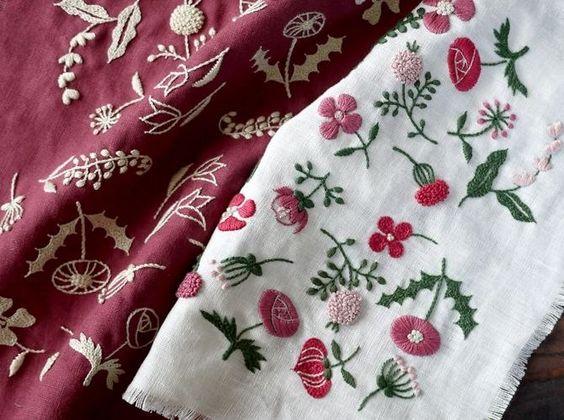 Классическая вышивка, природные мотивы. Цвет на белом vs. нейтральное на густо-цветном