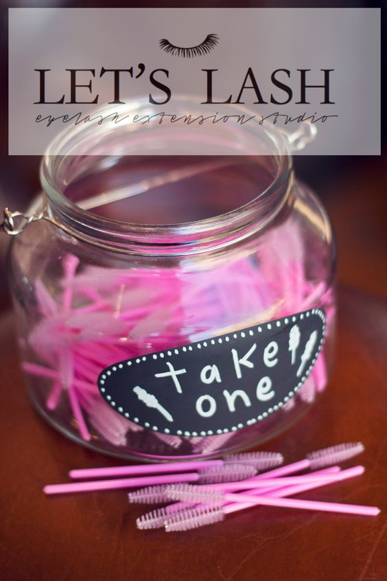 Pink mascara wands to comb out your lash extensions. In a candy bowl for customers at Let's Lash an eyelash extension studio located in Scottdale, AZ. www.letslash.com