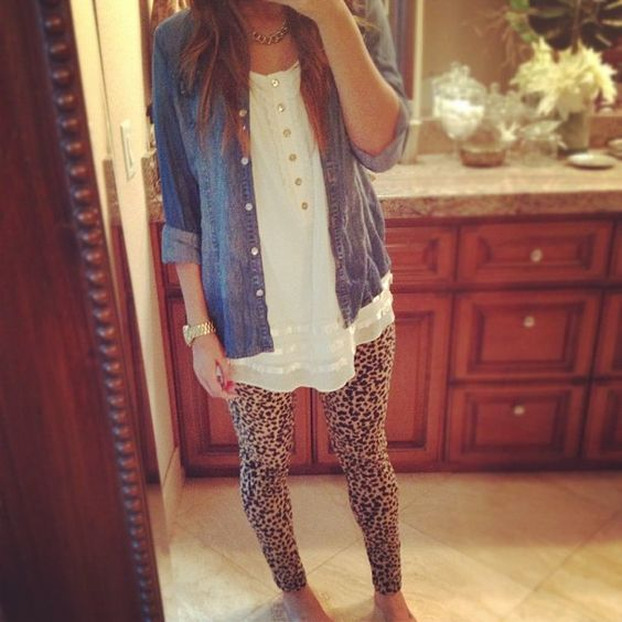 Denim and leopard print! Adore this!: