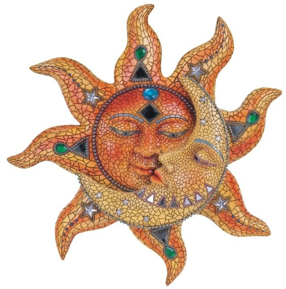 Orange Mosaic Face Sun With Yellow Mosaic Moon: