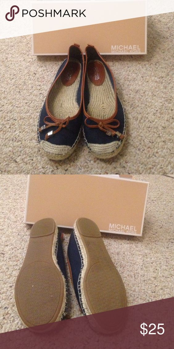 Michael Kors Meg Espadrilles size 10 Meg Espadrilles by Michael Kors. Made of canvas. Size 10 Color Navy. Logo on the tassels of the bows and on the bottom of the shoes. Comes with original box. Worn maybe three times. Very lightweight. Leather detailing MICHAEL Michael Kors Shoes Flats & Loafers