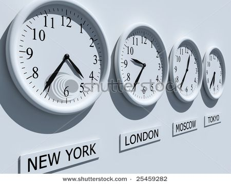 Time Zones above a global/geography bulletin board in my classroom.