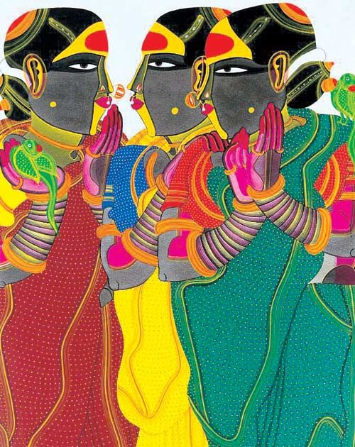 gopalekrishna:    Artist Thota Vaikuntam takes inspiration from the folk of his native land in Andhra Pradesh in his latest works Telangana Panels