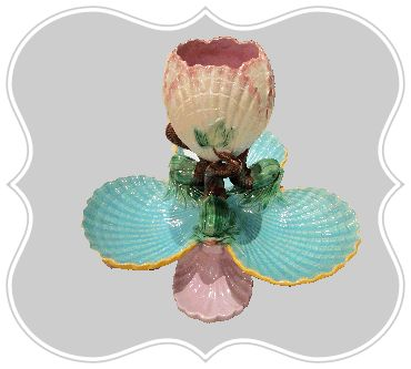 George Jones Majolica Tiered Shells Server with Dolphins