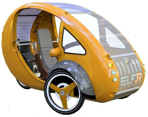 """ELF rides the line between car and bicycle for green future... This machine works with a solar-powered motor that assists with pedaling, runs on three wheels, and comes in at a height that's the same as a sedan. As this vehicle can """"go anywhere a bicycle can"""", it's allowed to traverse more than just the road, allowing for cross-over movement that'd be hindered with a motorcycle. Base cost of $4,000. This machine works with solar power and can travel 1,800 miles."""