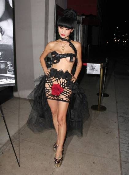 Watch Out, Rihanna! Bai Ling Rocks A Racy Breast & Crotch-Baring Dress In Los Angeles!