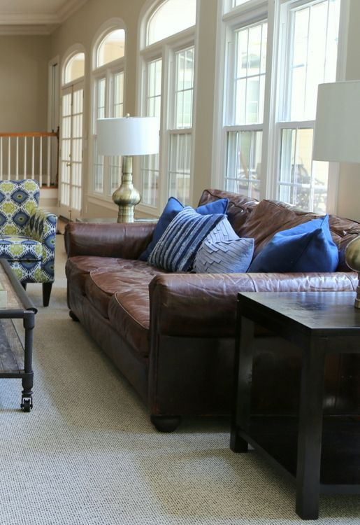 The Right Pillows For A Leather Sofa Brown Leather Couch Blue