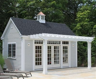 Custom Pine Harbor Building With Pergola Small Pool Houses Pool House Shed Pool Houses