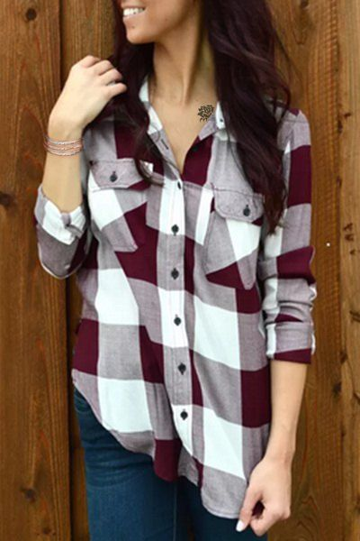 Stylish Shirt Collar Long Sleeve Plaid Side Slit Shirt For Women