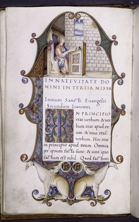 Illumination becomes a strangely-shaped object with the text measure in the middle. Scribe: Bartolomeo Sanvito, b. 1435 [Lectionary with sequences; Epistolary (volume 1) and Evangeliary (volume 2).] , f. 2v (vol. 2), ca. 1520, NYPL, Stephen A. Schwarzman Building / Spencer Collection