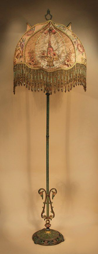Antique Floor Lamp With One Of A Kind Victorian Style Lamp Shade Victorian Lamps Victorian Lampshades Victorian Floor Lamps