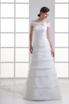 Robe mariée organza en étage volants épaule dégagée à traîne courte