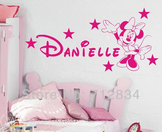 Couleur Peinture Jaune :  Stickers Minnie Mouse Murals Decals for Girls Bedroom 125 x 65cm $999