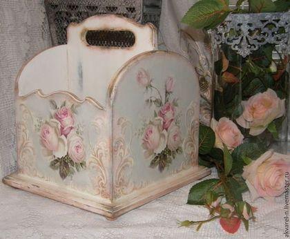 """Короб корзина """"Розы ретро"""" - белый,короб для хранения,короб,короб для кухни:"""