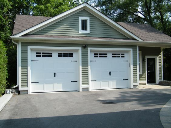 9x8 Haas 660 Carriage Doors In White With 6 Pane Windows Garage