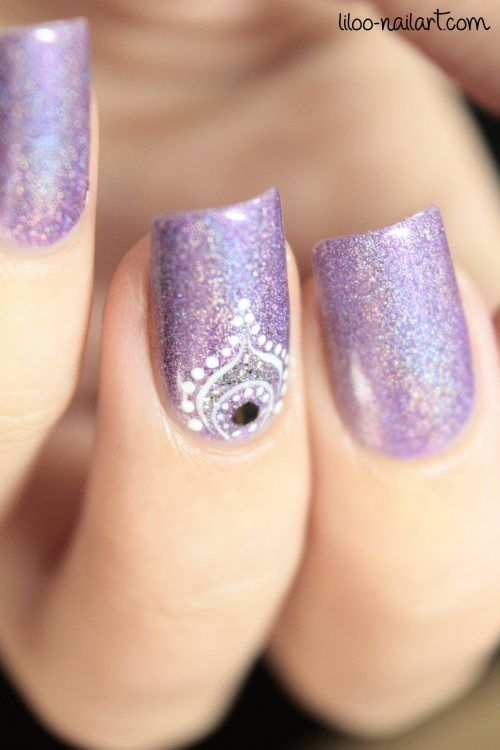 Magnetic 'Powerful Purple' (holographic purple-violet polish - opaque in 2 coats) with freehand nail art in white using a dotting tool and liner brush ~ by liloo nail art