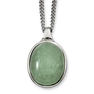 Women's Stainless Steel Aventurine Pendant Necklace Jewelry Available Exclusively at Gemologica.com