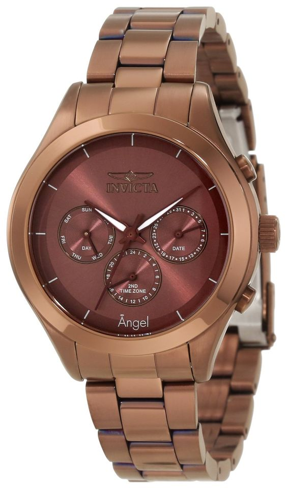 Invicta Women's 12468 Angel Brown Dial Brown Ion-Plated Stainless Steel Watch.  Bringing you the best luxury watches online at the most affordable prices for premium brand name watches: http://www.bestwatches1st.com/#!invicta-angel-watch-collection/kb04e
