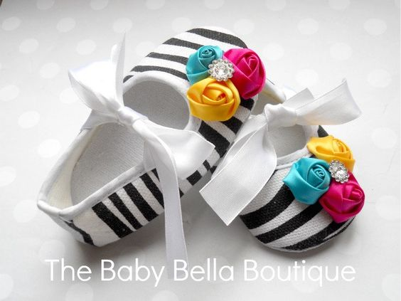 Chic Couture Baby Girl Zebra Crib Shoes, satin Rosette shoes