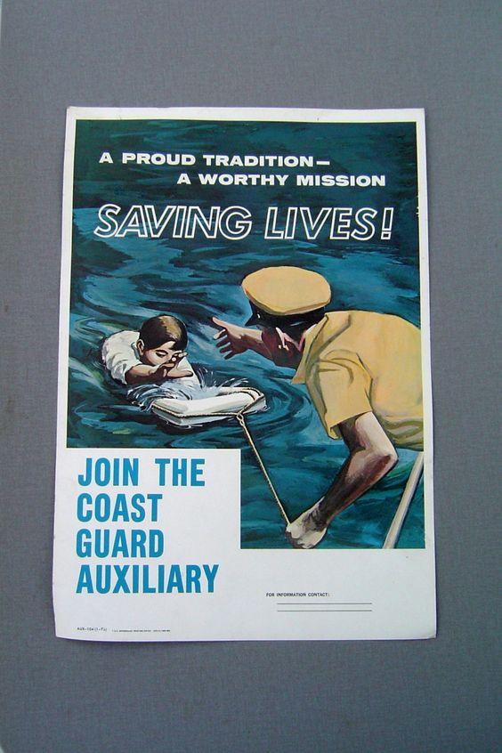 Vintage Coast Guard Auxiliary Poster. $10.00, via Etsy.