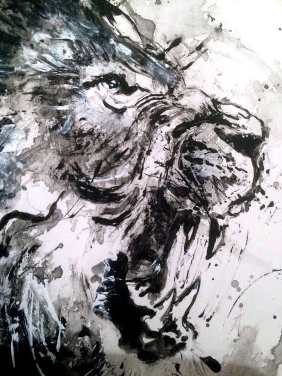 Lion original acrylic painting black and white art wild for White and black paintings