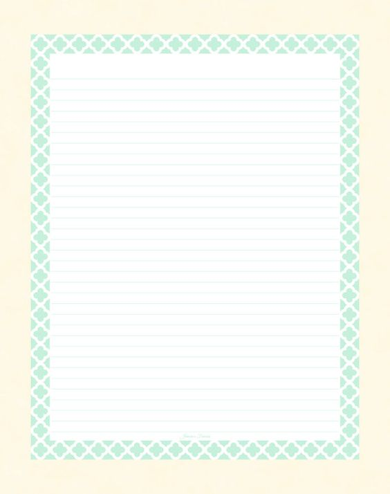 Editable Lined Paper - Mint And White Quatrefoil - Instant