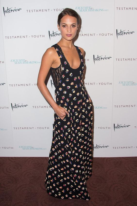 """Alicia Vikander wears Louis Vuitton to the """"Testament of Youth"""" premiere in New York City."""