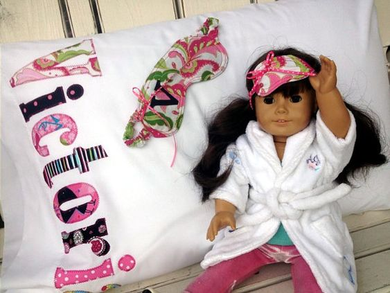 American Girl Sleep Set Personalized Pillowcase. Gift idea for Lilly.
